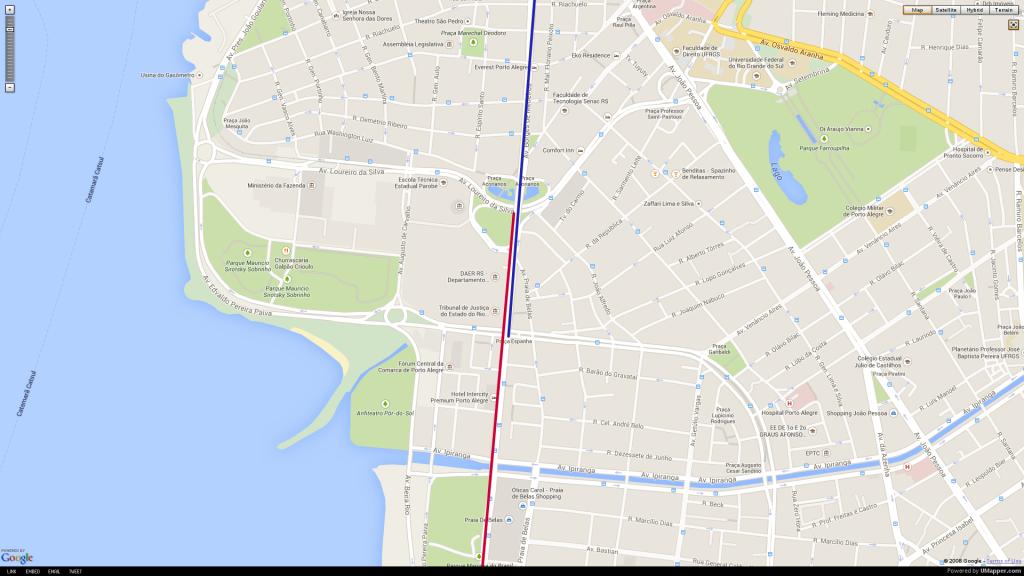 Mapa mostra em azul Rede Cicloviária Estrutural e em vermelho o Binário Borges de Medeiros/Praia de Belas. É possível ver o trecho no qual os dois se sobrepõem.